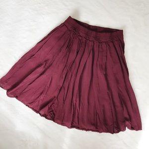 brandy melville maroon flowy skirt